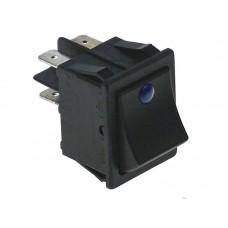 Buton basculant 30x22mm, 2NO, 250V, 16A, led albastru #301259