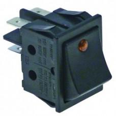 Buton portocaliu basculant 30x22mm, 2NO, 250V, 16A, iluminat, conexiune faston 6.3mm #301061